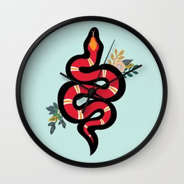 Red & Teal Colored Snake and Foliage Design Wall Clock