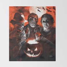 Freddy Krueger Jason Voorhees Michael Myers Super Villians Holiday Throw Blanket