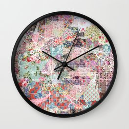 Tucson map flowers Wall Clock