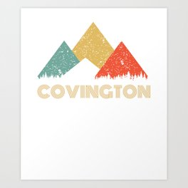 Retro City of Covington Mountain Shirt Art Print