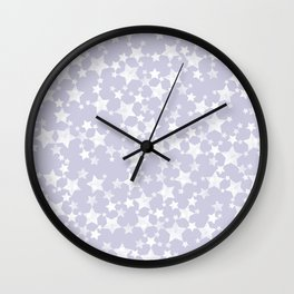 Block Printed Dusty Purple and White Stars Wall Clock