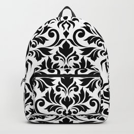Flourish Damask Art I Black on White Backpack