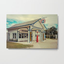 Standard Oil Station Odell Illinois Route 66 Restored Petrol Gas Service Station Metal Print