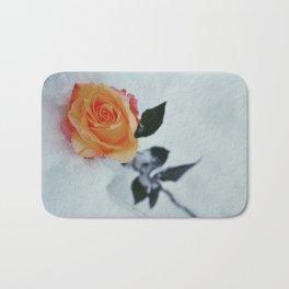 Rose in Snow Bath Mat