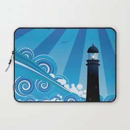 Blue stylized sea with big waves and lighthouse Laptop Sleeve