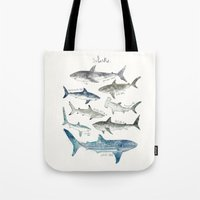 sharks Tote Bags featuring Sharks by Amy Hamilton