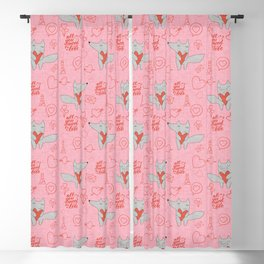 Fox in love pink Hearts Blackout Curtain