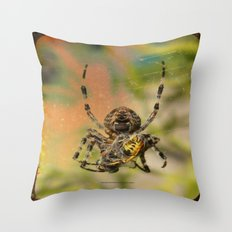 LUNCH WITH MR SPIDER 002 Throw Pillow