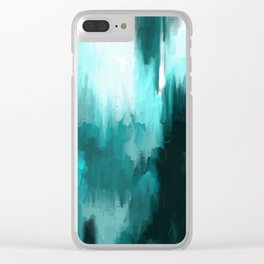 Ocean Water - an Aqua Blue Abstract painting with White Clear iPhone Case