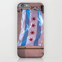 Chicago Standard City Flag Flying in the Loop Windy City iPhone Case