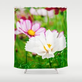 White and Pink Meadow Flowers Shower Curtain