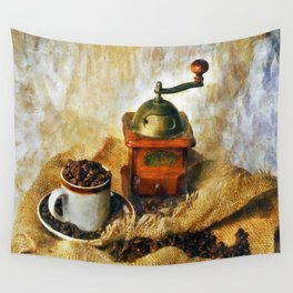Coffee Grinder and Coffee Cup Wall Tapestry