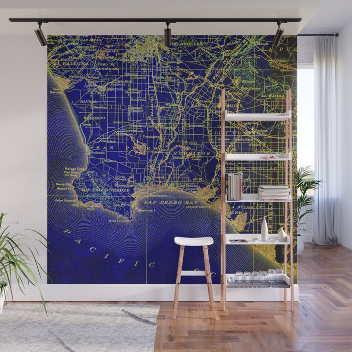 San Pedro Bay OLD MAP 1904, united states vintage maps Wall Mural by routes