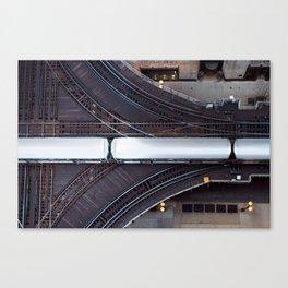 Chicago El Train Going Downtown Canvas Print