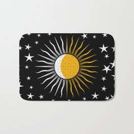Lunar-Sol Flower Of Life Sun Moon & Stars Black White Yellow Bath Mat