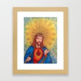 Sacred Heart Of Jesus Christ Drawing Framed Art Print