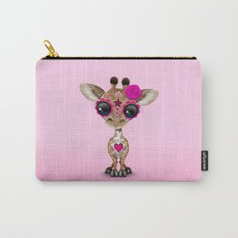 Pink Day of the Dead Sugar Skull Baby Giraffe Carry-All Pouch