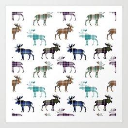 Plaid Moose Art Print
