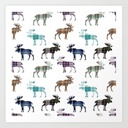Plaid Moose III Art Print