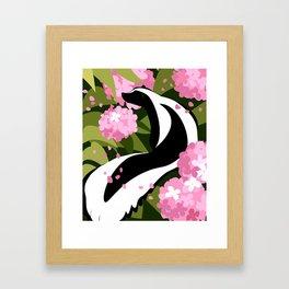 Springtime Skunk Among the Flowers Framed Art Print