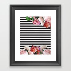 stripes and flowers Framed Art Print
