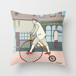 Steampunk Penny-Farthing Velocipedes Throw Pillow