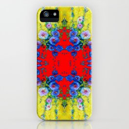 WESTERN YELLOW & RED GARDEN GOLD BLUE FLOWERS iPhone Case