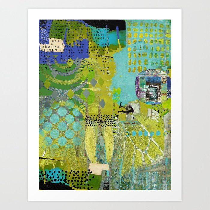 Being Green Abstract Art Collage Art Print