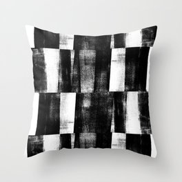 Black and White Handmade Graphic Abstract Pattern Throw Pillow
