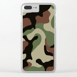 Army Camouflage Pattern Green Forest Clear iPhone Case
