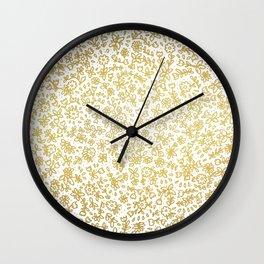 Golden little flowers Wall Clock