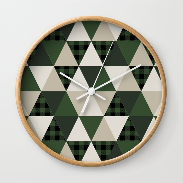 Hunter Green Camping Cabin Glamping Cheater Quilt Baby Nursery Gender Neutral Wall Clock