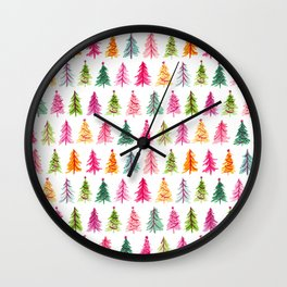 Colorful Vintage Bottlebrush Christmas Trees Wall Clock