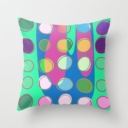 Nouveau Retro Graphic Teal Green Blues Multi Colored Throw Pillow