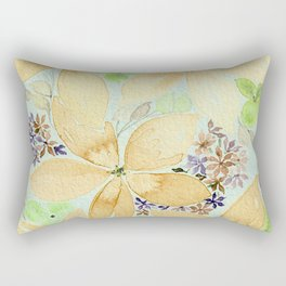 Beige Floral with Accent Flowers - Watercolor and Digital Color Enhanced Art Rectangular Pillow