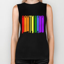 South Bend Indiana Gay Pride Rainbow Skyline Biker Tank
