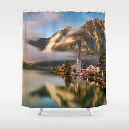 Beautiful Waterfront Hallstatt Salzkammergut Austria Shower Curtain