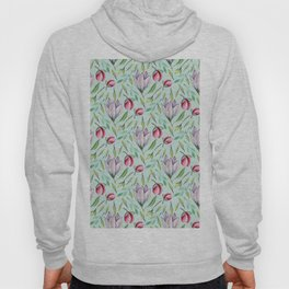 Pink green watercolor hand painted floral pattern Hoody