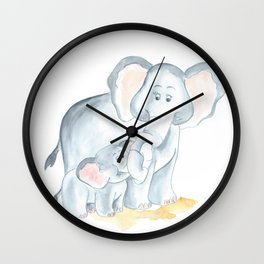 elephants watercolor painting, baby elephant with mom Wall Clock