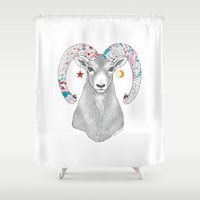 goat Shower Curtains featuring goat by talltree