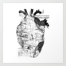 Heart Wanderlust Black and White Art Print