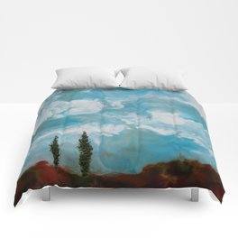 Cypress Trees encaustic wax painting by Seasons Kaz Sparks Comforters