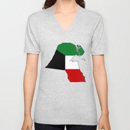 Kuwait Map with Kuwaiti Flag Unisex V-Neck