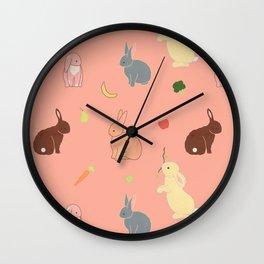 bunny rabbit banana fruit Wall Clock