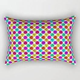 Mini Smiley Bikini Bright Neon Smiles on White Rectangular Pillow