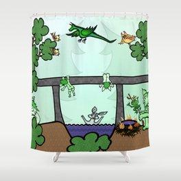 Troll family lives under the bridge Shower Curtain