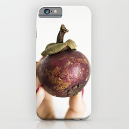 Hand holding a fresh mangosteen iPhone Case