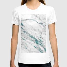 Gray Marble Aqua Teal Metallic Glitter Foil Style T-shirt