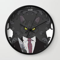 american psycho Wall Clocks featuring American Psycho Kitty by Elisabeth Acerbi