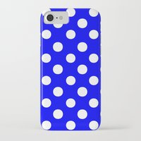polka dots iPhone & iPod Cases featuring Polka Dots (White/Blue) by 10813 Apparel